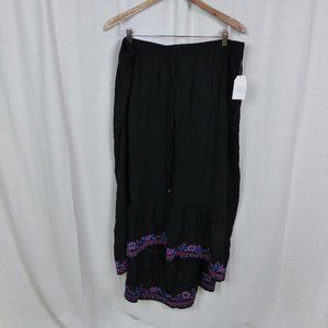 NWT Time & Tru Embroidered Maxi Skirt Relaxed Fit
